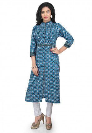 Printed Cotton Long kurta in Blue