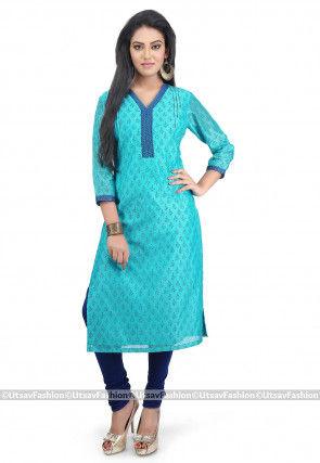 Printed Chanderi Cotton Kurta in Turquoise