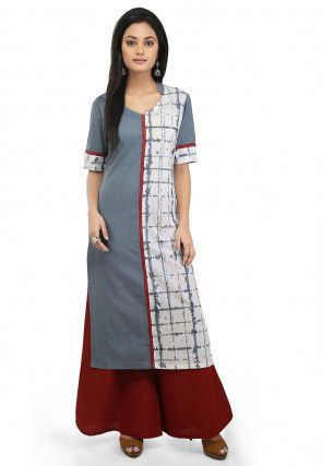 Tie Dyed Cotton Long Kurta in Grey and off White