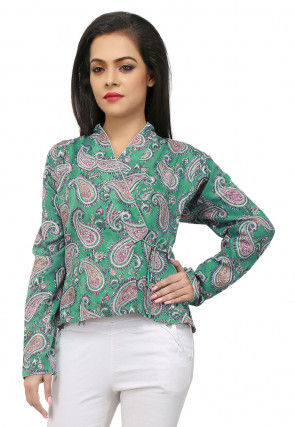 Printed Cotton Angrakha Style Jacket in Green