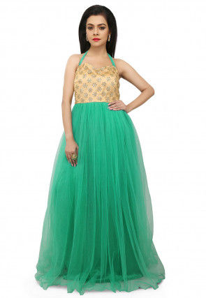 Embroidered Net Gown in Sea Green