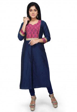 Block Printed Cotton Silk Straight Kurta in Navy Blue