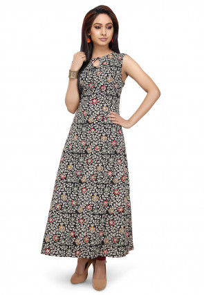 Kalamkari Printed Cotton Long Kurta in Black