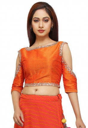 Embroidered Raw Silk Crop Top in Orange