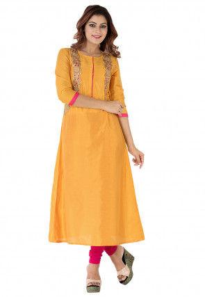 Embroidered Cotton Silk A Line Long Kurta in Mustard