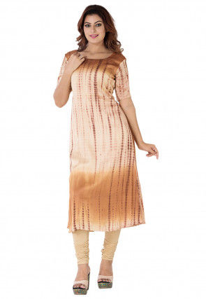 Tie Dyed Pure Silk A Line Long Kurta in Beige Ombre
