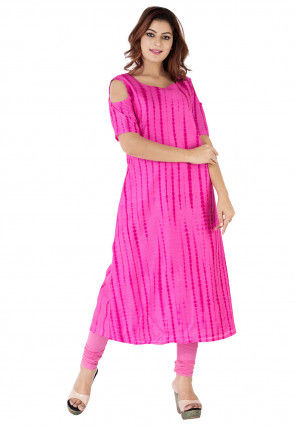 Tie Dyed Pure Silk A Line Long Kurta in Fuchsia
