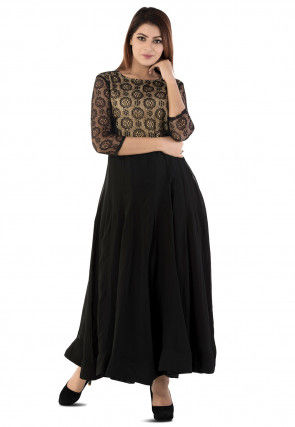 Woven Yoke Georgette Anarkali Gown in Black
