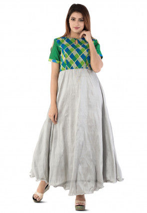Printed Yoke Dupion Silk Circular Gown in Grey and Green