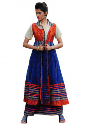Embroidered Jacket Anarkali with Palazzo Pants and Crepe Shirt