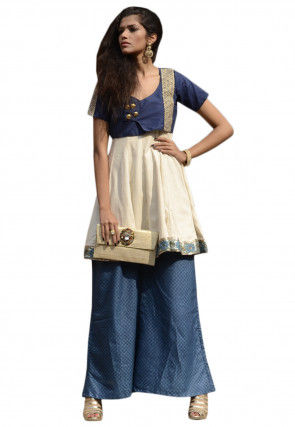 Embroidered Cotton Silk Kurta Set in Cream