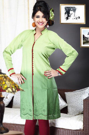 Embroidered Cotton Kurta In Light Green
