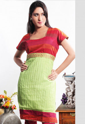 Chanderi Cotton Kurta in Green and Red