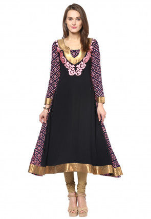 Embroidered Georgette Flared Long Kurta in Black