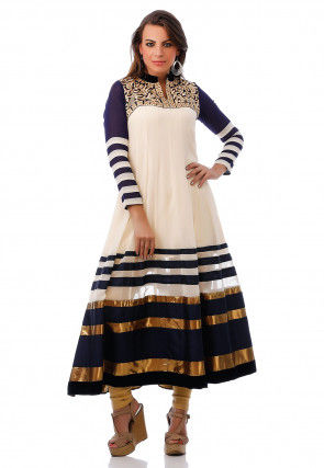 Embroidered Georgette Anarkali Long Kurta in Off White