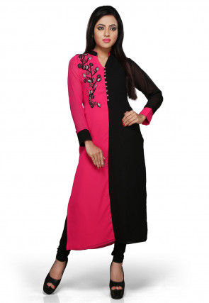 Embroidered Georgette Long Kurta In Fuchsia and Black