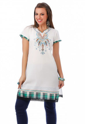 Embroidered Cotton Kurti In Off White