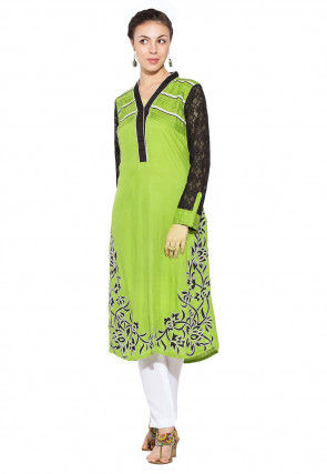 Embroidered Cotton And Chantelle Net Long Kurta In Olive Green