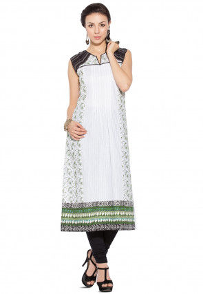 Embroidered Cotton Long Kurta in White