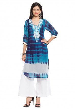 Embroidered Georgette Kurta in Blue
