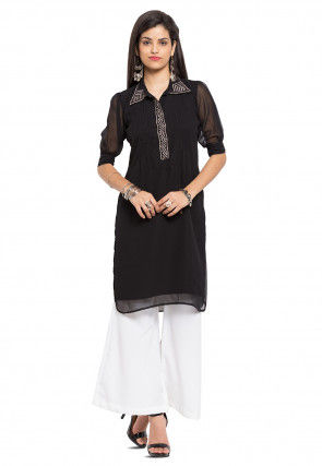 Embellished Georgette Kurti in Black