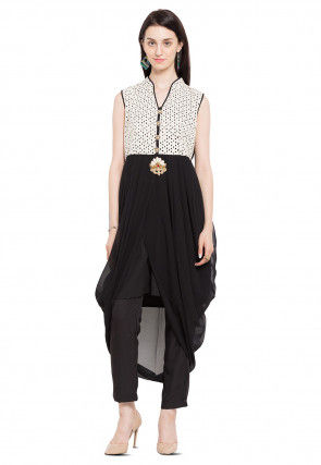 Printed Georgette Dhoti Style Tunic in Black and Off White