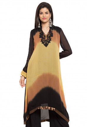 Embroidered Georgette Asymmetric Long Kurta in Multicolor