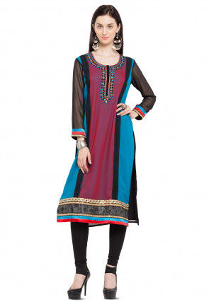Embroidered Georgette Long Kurta in Multicolor