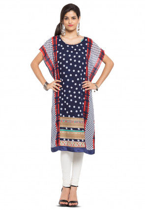 Printed Georgette Kaftan in Navy Blue