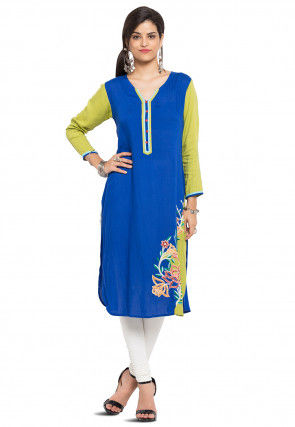 Embroidered Cotton Kurta in Blue