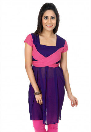 Plain Chiffon Tunic in Purple and Pink