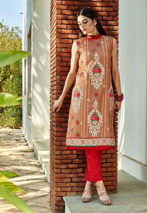 Embroidered Cotton Long Kurta In Light Brown