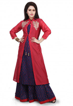 Block Printed Kurta Set with Gotta Patti Jacket in Red and Blue
