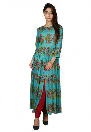 Printed Cotton Front Slit Kurta in Teal Blue
