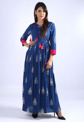 Block Printed Cotton Angrakha Style Dress in Blue
