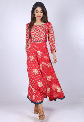 Block Printed Cotton Flared Kurta in Red