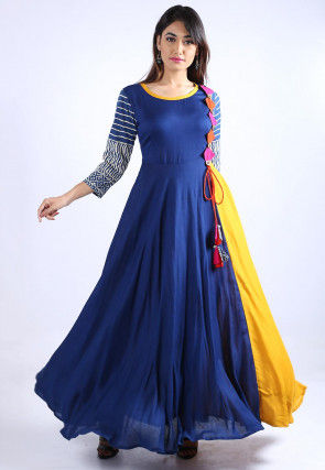 Block Printed Sleeve Rayon Flared Dress in Blue and Mustard