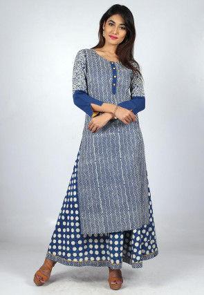 Printed Cotton Layered Long Kurta in Blue