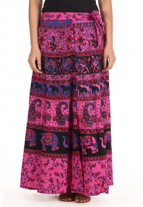 Sanganeri Cotton Wrap Around Skirt in Pink