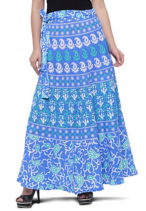 Paisley Printed Cotton Wrap Around Skirt in Sky Blue