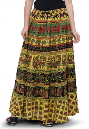 Sanganeri Cotton Long Skirt in Light Olive Green