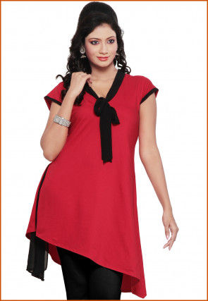 Plain Lycra Readymade Asymmetric Tunic in Red