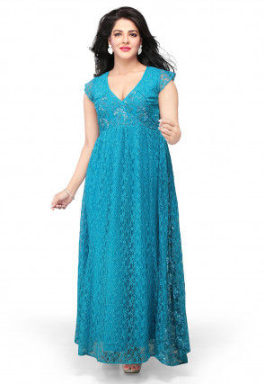 Embroidered Readymade Chantelle Net Gown in Blue