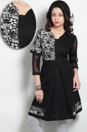 Embroidered Readymade Cotton Silk Tunic in Black