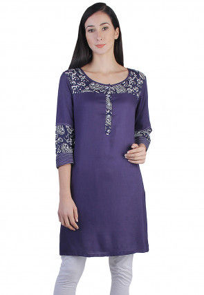 Printed Kurti Rayon Cotton in Purple