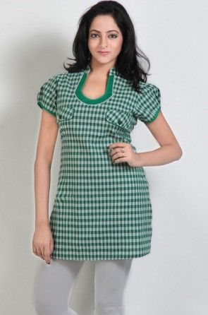 Printed Cotton Tunic in Green