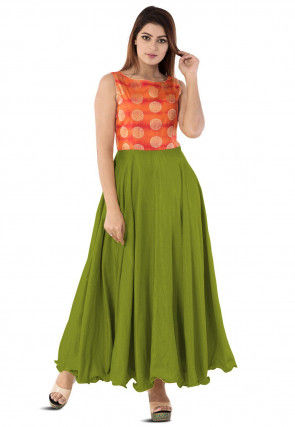 Woven Yoke Art Silk Circular Gown in Green
