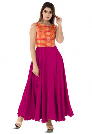Woven Yoke Art Silk Circular Gown in Magenta
