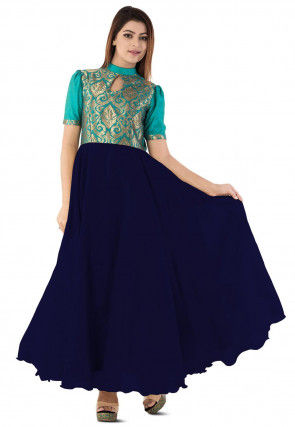 Woven Yoke Dupion Silk Circular Gown in Navy Blue and Teal Blue