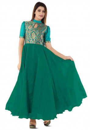Woven Yoke Dupion Silk Circular Gown in Dark Green and Teal Blue